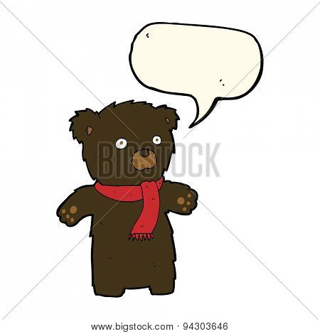 cartoon cute black bear with speech bubble