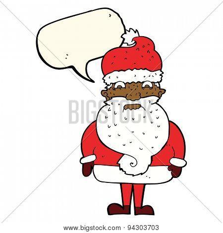 cartoon grumpy santa claus with speech bubble