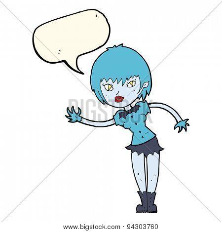 cartoon vampire girl welcoming with speech bubble
