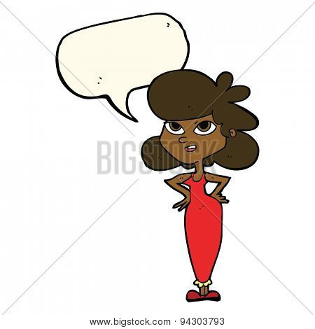 cartoon girl with hands on hips with speech bubble