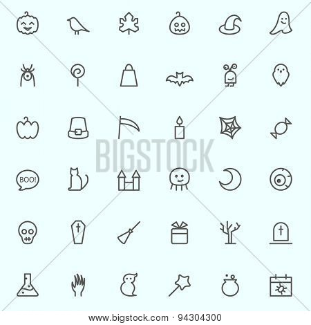 Halloween icons, simple and thin line design