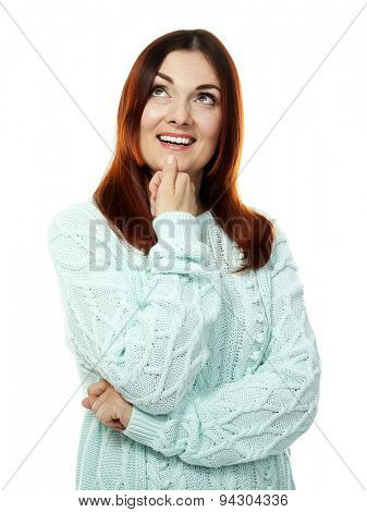 Beautiful middle aged woman isolated on white