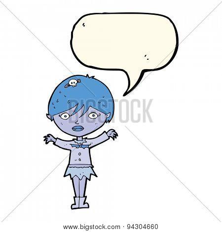 cartoon waving vampire girl with speech bubble
