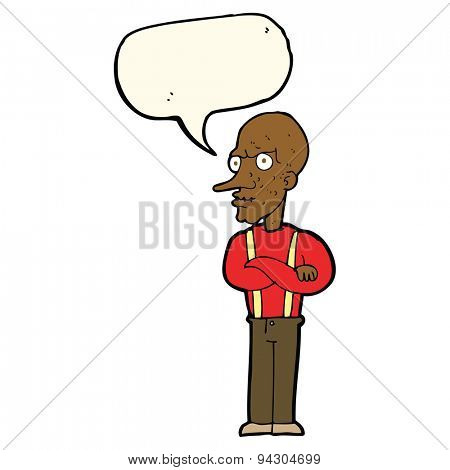 cartoon mean old man with speech bubble