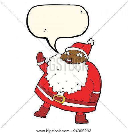 funny waving santa claus cartoon with speech bubble