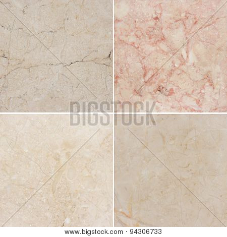 Four different texture of a light and dark marble. (high.res.)