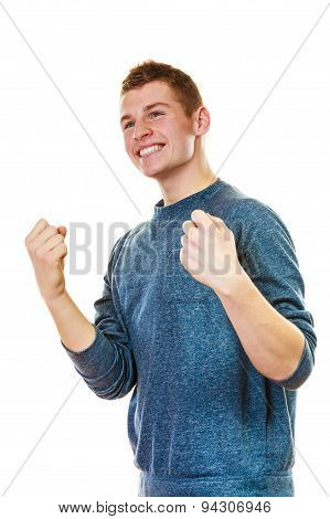 Happy Man Successful With Arms Up Clenching Fist