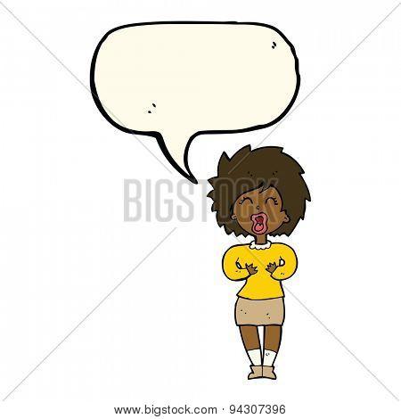 cartoon screaming woman with speech bubble