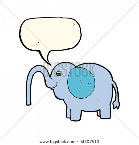 cartoon elephant squirting water with speech bubble