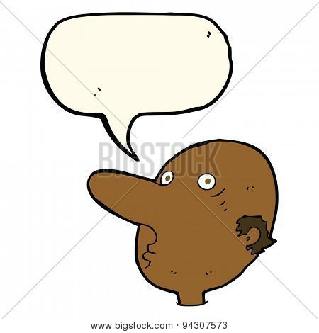 cartoon balding man with speech bubble