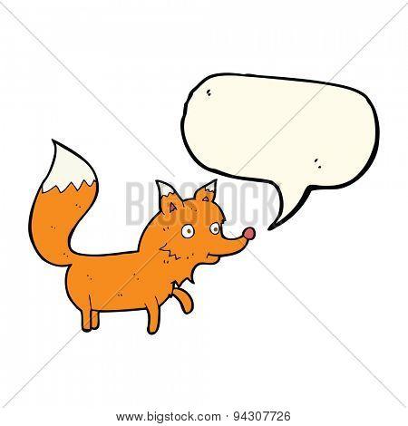 cartoon fox cub with speech bubble