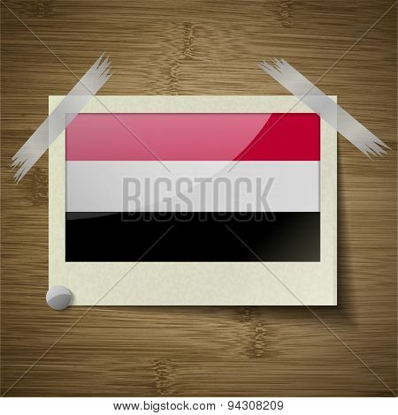 Flags Yemen At Frame On Wooden Texture. Vector