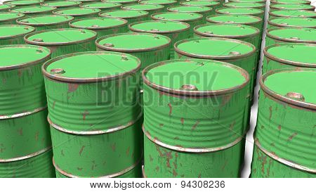 large number of dirty worn scratched barrels