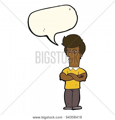 cartoon man with folded arms with speech bubble