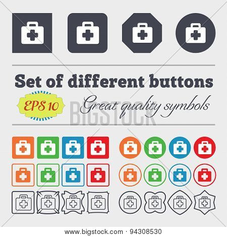 First Aid Kit Icon Sign. Big Set Of Colorful, Diverse, High-quality Buttons. Vector