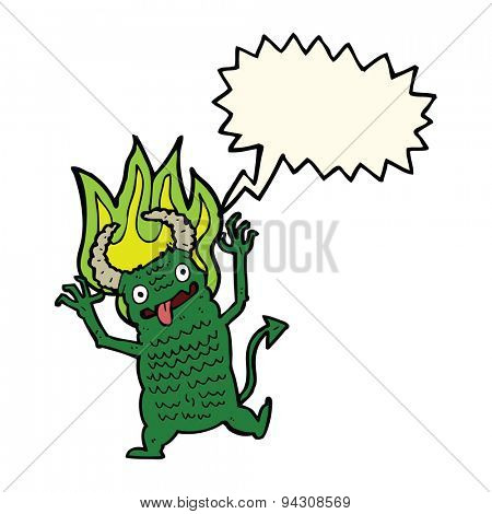 cartoon demon with speech bubble