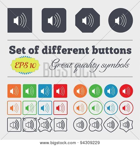 Volume, Sound  Icon Sign. Big Set Of Colorful, Diverse, High-quality Buttons. Vector