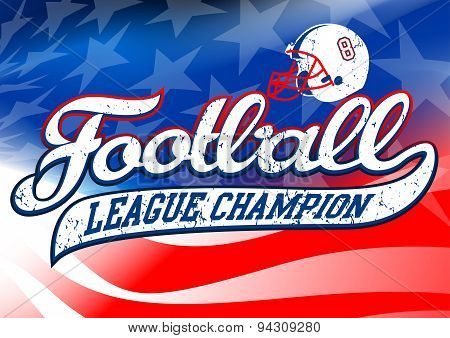 Football League Champion On Usa Flag