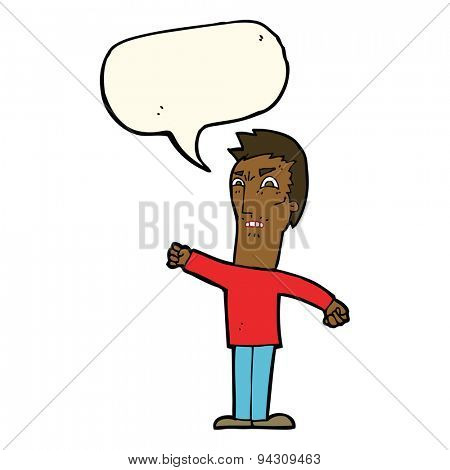 cartoon annoyed man with speech bubble