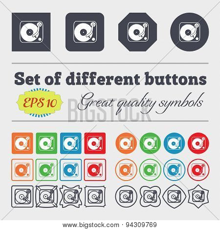 Gramophone, Vinyl Icon Sign. Big Set Of Colorful, Diverse, High-quality Buttons. Vector