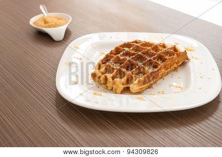Belgian Waffle With Honey