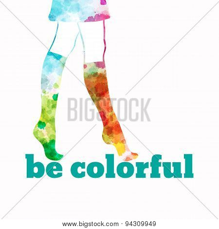 Watercolor female legs in colorful socks. Be colorful.  illustration eps8