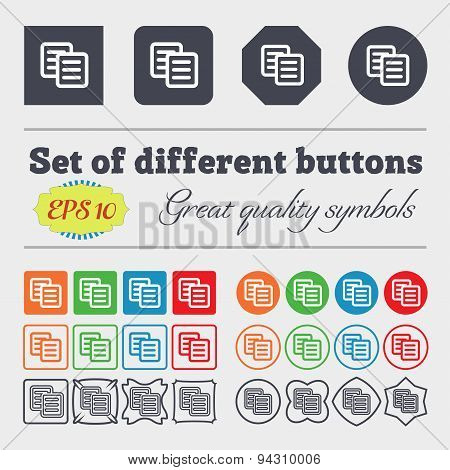Copy Icon Sign. Big Set Of Colorful, Diverse, High-quality Buttons. Vector