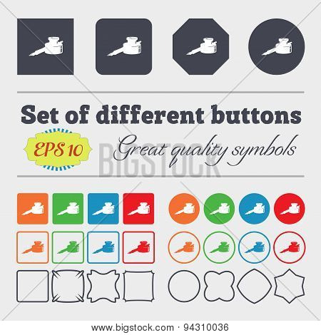 Pen And Ink Icon Sign. Big Set Of Colorful, Diverse, High-quality Buttons. Vector