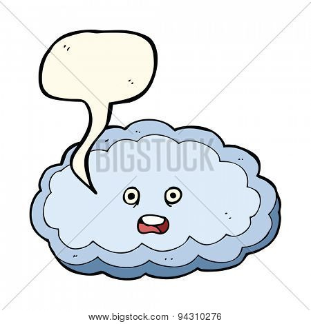 cartoon decorative cloud with speech bubble