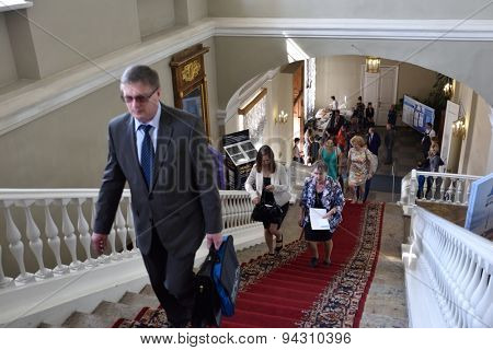ST. PETERSBURG, RUSSIA - JUNE 22, 2015: First day of Saint Petersburg scientific forum