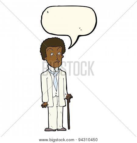 cartoon unhappy gentleman with speech bubble