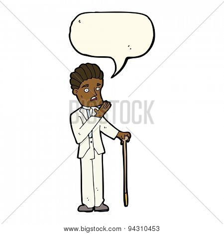 cartoon shocked gentleman with speech bubble