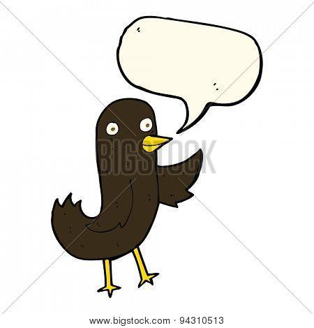 funny cartoon bird with speech bubble