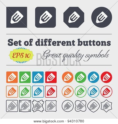 Pencil Icon Sign. Big Set Of Colorful, Diverse, High-quality Buttons. Vector