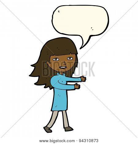 cartoon happy girl with speech bubble