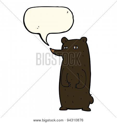 funny cartoon black bear with speech bubble