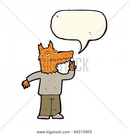 cartoon happy fox man with speech bubble
