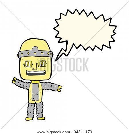 cartoon waving robot with speech bubble