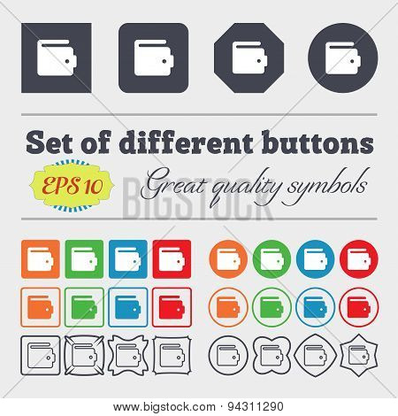 Purse Icon Sign. Big Set Of Colorful, Diverse, High-quality Buttons. Vector