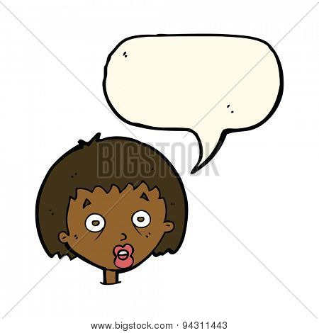 cartoon shocked woman with speech bubble
