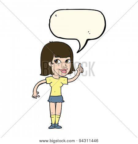 cartoon pretty girl with idea with speech bubble