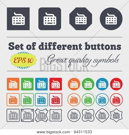 Keyboard Icon Sign. Big Set Of Colorful, Diverse, High-quality Buttons. Vector