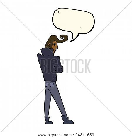cartoon cool guy with speech bubble