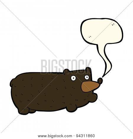 funny cartoon bear with speech bubble