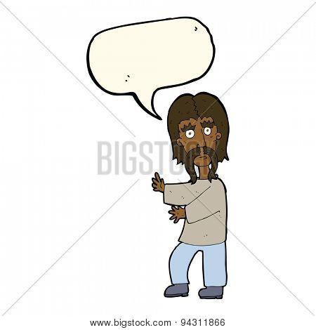 cartoon mustache man with speech bubble