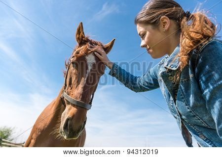 Young Brunette Woman And Her Horse