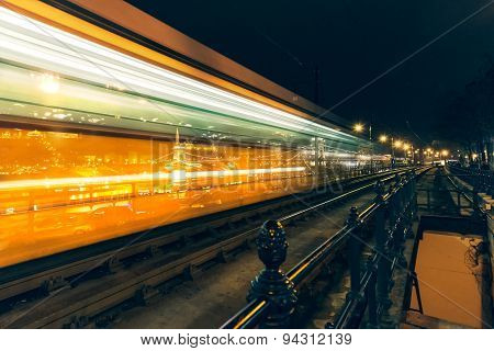 Budepest Train At Night