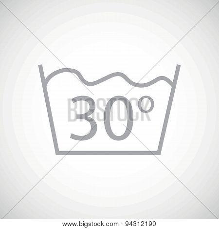Grey 30 degrees wash icon
