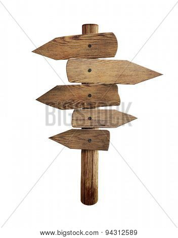 Old wooden road sign with five direction arrows isolated