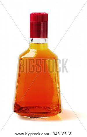 Bottle of Alcoholic Drink on White Background